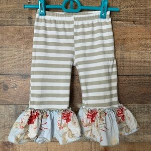 Giggle Moon striped pants floral ruffle trim Sz 5